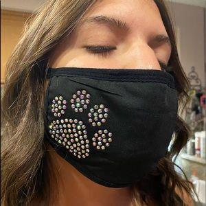 Blinged out dog paw face mask w/ AB rhinestones